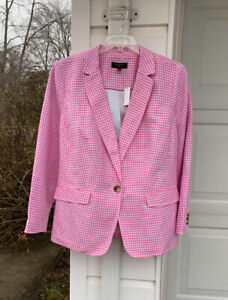 NWT Talbots Beautifully Made Pink White Checked Linen Blend Lined Blazer 16W 1X
