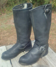 Vintage Sears Black Leather 17� Tall Engineer Motorcycle Boots size 13D Usa Made