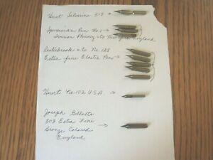 Lot of 11 Vintage Pen Nibs Assorted See Description