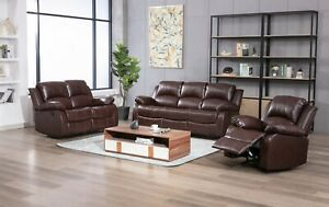 LEATHER RECLINER 3 2 1 SEATER SOFA BROWN GREY BLACK COUCHES SETTEE SET