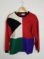 La DAME VINTAGE AUST Colour Block Knit Jumper Women's Size M Acrylic Wool Blend