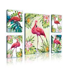 SET (5 teilig) Leinwandbild POSTER Flamingo Palmen Rosa Natur Blumen 11168 S14