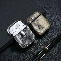 Leather Case Airpods Box Snake Skin Bluetooth Wireless Earphone Charging Bag
