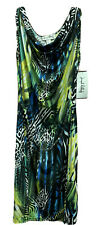 Joseph Ribkoff Green And Black Tropical Print Dress W Silver Belt Accent Size 14