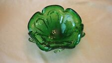 Vintage Hand Blown Art Bubble Green and Clear Glass Ashtray