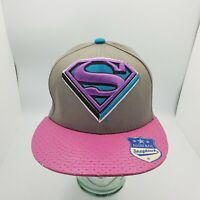 Superman Flatbill Snapback DC Comics Men's Baseball Hat/Cap Grey W/ pink Purple