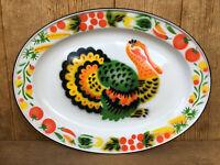 "Mid Century Enamel Ware Enamelware Turkey Platter Vintage Colorful 17.5"" x 13"""