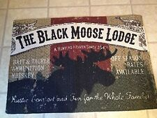 """Country Primitive Lodge Cabin Cotton Moose Rug 24x 36"""" FREE SHIP"""