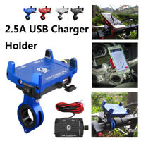 Universal Motorcycle Phone Handlebar Mount Holder 2.5A USB Fast Charger + Switch