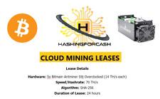 70 TH/s 1 DAY Bitcoin Mining Lease S9 x5 AntMiner Crypto Rental SHA-256 BTC s9j