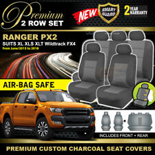 Premium Charcoal FORD PX RANGER MK2 Dual Cab Seat Covers 2ROW XLT XL XLS 2015-18
