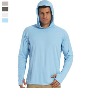 Men's Outdoor Sun Block T-Shirt UPF 50+ Skin Protection Hiking Sport Hoodie Tops