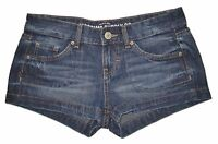 New! MOSSIMO Juniors Size Womens Denim Jean Shorts Low Rise Fit 6 Dark Whiskered