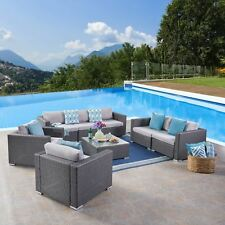 Samuel Outdoor 7 Seater Wicker Sofa Chat Set with Aluminum Frame and Cushions
