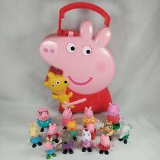 Peppa Pig Storage Carry Case 14 Figures Lot Toy Friends George Elephant Bundle