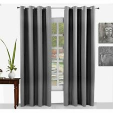 "Smoke Grey Eyelet Curtains Elite Housewares Barossa Grommet 54"" x 72"" (1152)"