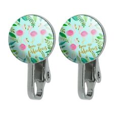 Crowns Novelty Clip-On Stud Earrings You are Fabulous Flamingos Princesses