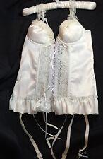 New Corset Garters Satin Merry Widow White Ribbon Lace Up PushUp Boning Bridal S