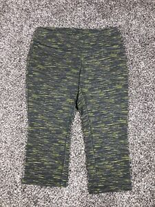 Women's Reebok Cropped Leggings Active Wear Gray And Yellow Large L