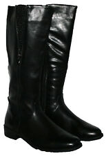 LADIES BLACK KNEE HIGH BOOT WITH SIDE ZIP AND SIDE ZIP TRIM IN SIZES 3-8