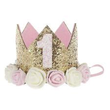 Baby Crown Glitter Birthday Hat Rose Headband Toddler Photography Props Headwear