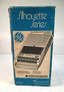GE Cassette Tape Recorder 3-5159 Silhouette Series - Original Box & Power Cord