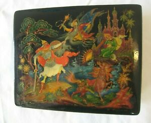 Amazing Palekh USSR Russian Hand Painted Black Lacquer Box w/COA Signed #4