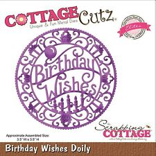 COTTAGE CUTZ BIRTHDAY WISHES DOILY CUTTING DIE - NEW UNIVERSAL FIT