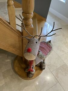 Brown Red Standing Reindeer Rudolph Extendable Legs Christmas Decs Xmas Decor
