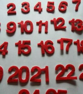 25 Self adhesive felt number stickers for Christmas Advent Calendar making, red