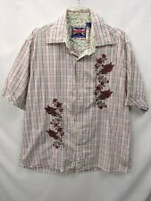 ENGLISH LAUNDRY White Blue Green Maroon Plaid Cotton Embroidered Button Shirt XL