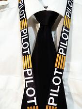Lanyard PILOT Black with 4 Golden Bars keychain neckstrap for pilot crew Lanyard