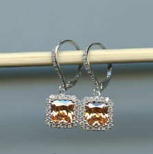 925 SILVER 1.75 CT PRINCESS CUT CHAMPAGNE & CLEAR CZ HALO LEVERBACK EARRINGS
