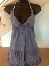 BNWT INDAH Clothing Tiered Ruffle Halter Dress Size Small Denim Blue From Bali