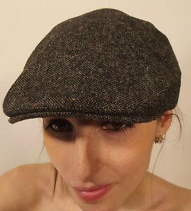 New Men's Women's Children's Quality British Classic Tweed Black Flat Cap Hat