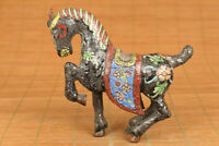 chinese old cloisonne handwork horse statue netsuke good stand table decoration