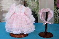"Vintage Doll Clothes Antique Style CHILD DRESS & BONNET 4 Bebe German/French 13"""