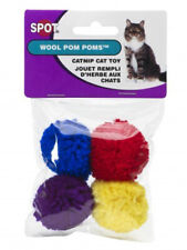 Ethical Wool Pom Poms with Catnip Cat Toy Assorted colors 4-Pack