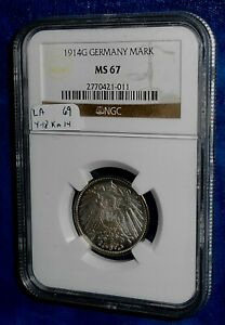 Germany 1914-G MS67 silver mark in NGC holder