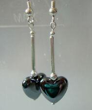 Sterling Silver Heart Butterfly Drop/Dangle Fine Gemstone Earrings