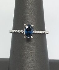 14K White Gold Beads and Solitaire Sapphire Ring