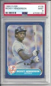 1986 Fleer Rickey Henderson #108 PSA 9 Mint Baseball Card