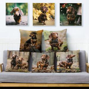 Cute Pet Miniature Dachshund Dogs Print Cushion Cover  Pillows Cases Home Decor