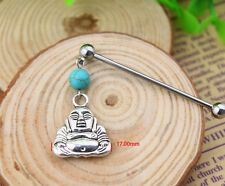 Stainless Steel Industrial Bar Scaffold Turquoise Buddha Stone Piercing