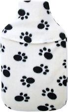 Acogedor Fleece De 1 Litro Mini Botella de agua caliente y cubierta: Crema Paw Print Diseño