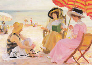 Postkarte: Alfred Victor Fournier - Der Strand / Gespräch dreier Frauen / Buch