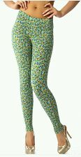 Women's Plus Size Leggings 2X/3X Green Small Floral PREMIUM Footless NWT