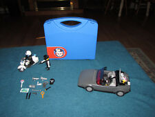 Playmobil mixed lot police cops & robber get away car motorcycle money helmet