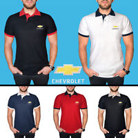Chevrolet Chevy Polo T Shirt COTTON EMBROIDERED Auto Car Logo Tee Mens Clothing
