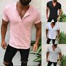 Men's Henley Shirt Skinny V Neck Tops Short Sleeve Plain Casual Holiday T-shirts